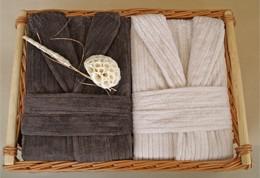 2 Męskie Szlafroki Bonjour w Ozdobnym Koszu na Prezent Greno M krem, L czekolada
