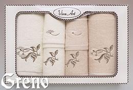 6 Ręczników Haftowanych w Ozdobnym Pudełku Viva Art VI Greno beż, bukiecik