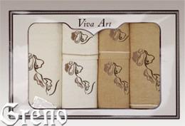 6 Ręczników Haftowanych w Ozdobnym Pudełku Viva Art VI Greno beż, deco