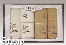 6 Ręczników Haftowanych w Ozdobnym Pudełku Viva Art VI Greno beż, melody
