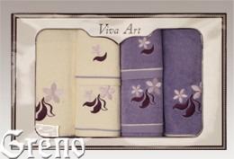 6 Ręczników Haftowanych w Ozdobnym Pudełku Viva Art VI Greno lila, just