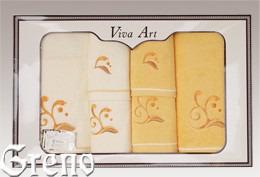 6 Ręczników Haftowanych w Ozdobnym Pudełku Viva Art VI Greno żółty, melody