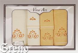 6 Ręczników Haftowanych w Ozdobnym Pudełku Viva Art VI Greno żółty, secesja