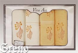 6 Ręczników Haftowanych w Ozdobnym Pudełku Viva Art VI Greno żółty, sweet
