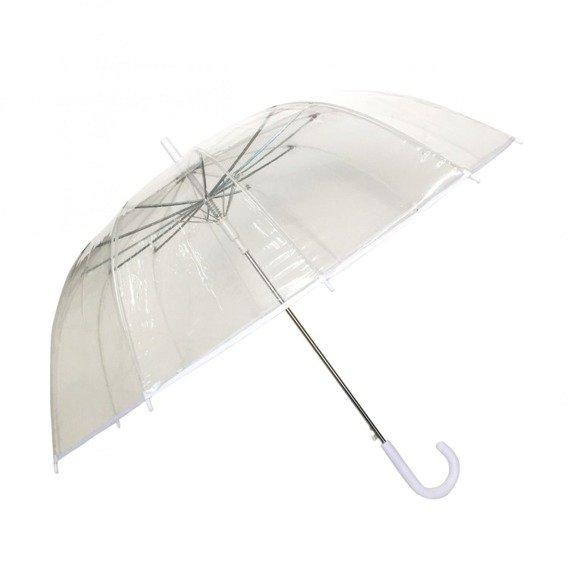 Długi parasol przezroczysty 12 żeber, biała bordiura
