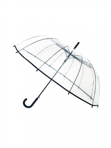 Długi parasol przezroczysty 12 żeber, czarna bordiura