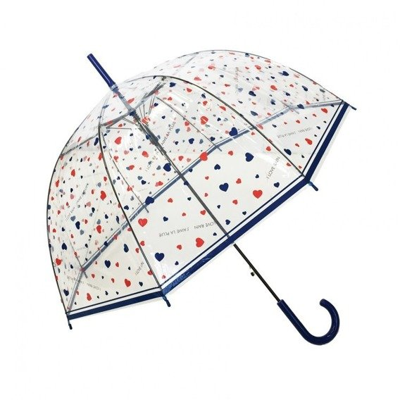 Długi parasol przezroczysty kopuła, I love Rain