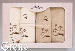 Komplet 6 Ręczników Haftowanych w Ozdobnym Pudełku na Prezent Arten VI Greno beż, melody