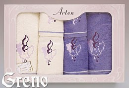 Komplet 6 Ręczników Haftowanych w Ozdobnym Pudełku na Prezent Arten VI Greno lila, dzwoneczek