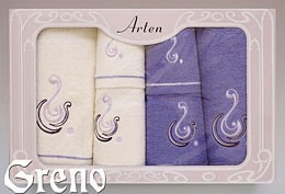 Komplet 6 Ręczników Haftowanych w Ozdobnym Pudełku na Prezent Arten VI Greno lila, ocean