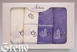 Komplet 6 Ręczników Haftowanych w Ozdobnym Pudełku na Prezent Arten VI Greno lila, tulip art