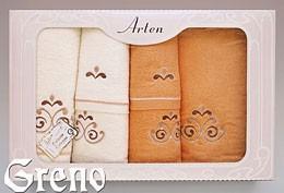 Komplet 6 Ręczników Haftowanych w Ozdobnym Pudełku na Prezent Arten VI Greno pomarańcz, secesja
