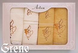 Komplet 6 Ręczników Haftowanych w Ozdobnym Pudełku na Prezent Arten VI Greno żółty, dzwoneczek