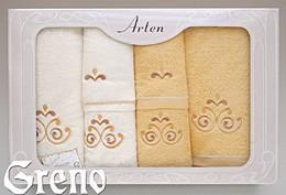 Komplet 6 Ręczników Haftowanych w Ozdobnym Pudełku na Prezent Arten VI Greno żółty, secesja