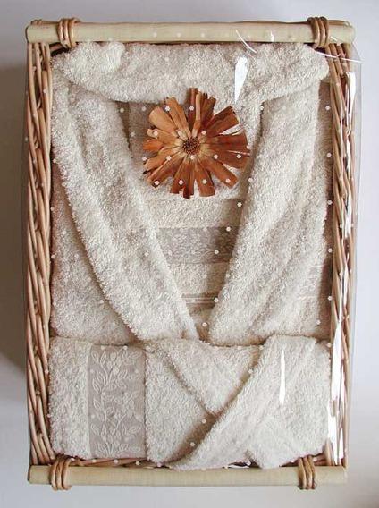 "Komplet Linen 2 Ręczniki (30x50cm i 70x140cm) + Szlafrok Rozmiar ""L"" GRENO kropki"