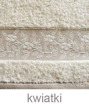 """Komplet Linen 2 Ręczniki (50x100cm i 70x140cm) + Szlafrok Rozmiar """"L"""" GRENO kwiatki"""